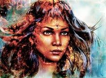 Cara místico da mulher, fundo da estrutura, efeito de fogo, colagem ilustração stock