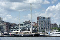 Cara Maria Yacht docked at Commercial Wharf Royalty Free Stock Images