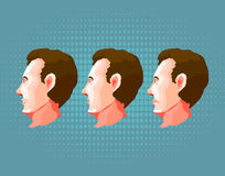 Cara masculina com emoções diferentes no fundo azul Foto de Stock