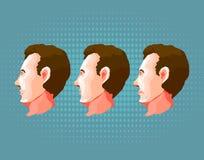 Cara masculina con diversas emociones en fondo azul Foto de archivo