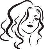 Cara monocromática de la mujer del beautifu ilustración del vector