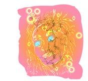 Cara a motor do gráfico da mulher da mola brilhante ilustração do vetor