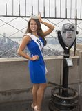 Cara Mund, Miss America 2018. Cara Mund wears her crown and sash identifying her as the newly installed Miss America 2018 as she poses on the observation deck of Stock Photos