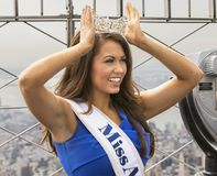 Cara Mund, Miss America 2018. Cara Mund wears her crown and sash identifying her as the newly installed Miss America 2018 as she poses on the observation deck of Stock Images