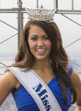Cara Mund, Miss America 2018. Cara Mund wears her crown and sash identifying her as the newly installed Miss America 2018 as she poses on the observation deck of Stock Photography