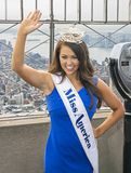 Cara Mund, Miss America 2018. Cara Mund wears her crown and sash identifying her as the newly installed Miss America 2018 as she poses on the observation deck of Stock Photo