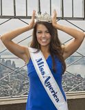 Cara Mund, Miss America 2018. Cara Mund wears her crown and sash identifying her as the newly installed Miss America 2018 as she poses on the observation deck of Royalty Free Stock Image