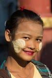 Cara Myanmar del retrato de Thanaka de la mujer Imagen de archivo libre de regalías