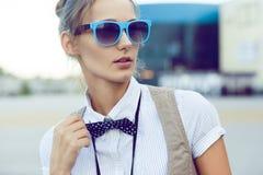 Cara na moda da menina Fotografia de Stock