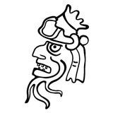 Cara no estilo de Maya Indians, ilustração do vetor Imagens de Stock