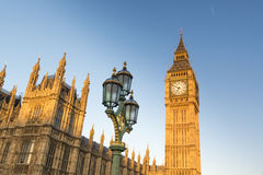 Big Ben com as casas do parlamento Imagem de Stock