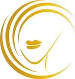 A cara, o cabeleireiro e os penteados das mulheres, formam o logotipo, ícone ilustração royalty free