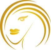A cara, o cabeleireiro e os penteados das mulheres, formam o logotipo, ícone ilustração stock