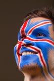 Cara pintada con la bandera inglesa. Fotos de archivo libres de regalías