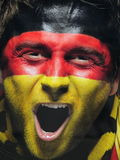 Cara pintada do fã alemão - fotos conservadas em estoque Foto de Stock Royalty Free