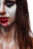 Cara pintada mujer mojada del pelo imagen de archivo libre de regalías