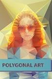 Cara poligonal abstracta Retrato de los triángulos para Imagen de archivo