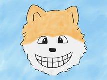 Cara pomeranian de la sonrisa del perro de la mano del drenaje del garabato abstracto del bosquejo en el fondo azul, ejemplo, est ilustración del vector