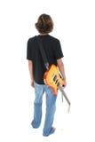 Cara posterior del muchacho adolescente con la guitarra eléctrica sobre blanco Fotografía de archivo