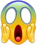 Cara que grita no emoticon do medo Fotografia de Stock