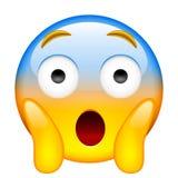 Cara que grita no medo Gritar no medo Emoji ilustração do vetor