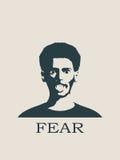 Cara que grita no medo Gritar no medo Emoji ilustração royalty free