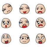 Cara que muestra diversas emociones Imágenes de archivo libres de regalías