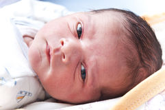 Cara recién nacida del bebé Imagen de archivo libre de regalías