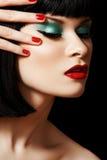 Cara retra del modelo del encanto. Maquillaje brillante de la manera imágenes de archivo libres de regalías