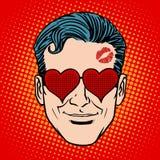 Cara retro do homem do amante de Emoji Fotografia de Stock