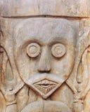 Cara ritual tallada de madera de la estatua Imágenes de archivo libres de regalías