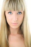 Cara rubia del primer de la muchacha de la belleza imagenes de archivo