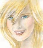 Cara rubia joven atractiva de la mujer Fotos de archivo