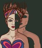 Cara seguinte de dois povos heterossexuais séria ilustração do vetor
