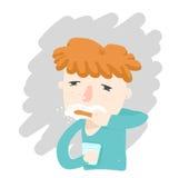 Cara soñolienta del pelo del muchacho de los dientes anaranjados del cepillo Fotografía de archivo