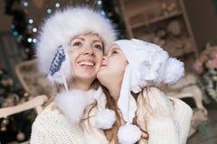 Cara, sombrero blanco, la Navidad, diversión Imagen de archivo libre de regalías