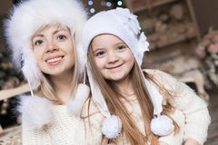 Cara, sombrero blanco, la Navidad, diversión Fotografía de archivo libre de regalías