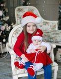 Cara, sombrero de la Navidad, traje rojo Imagenes de archivo