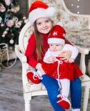 Cara, sombrero de la Navidad, traje rojo, diversión Foto de archivo