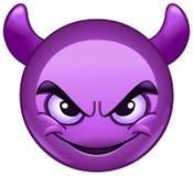 Cara sonriente con el emoticon de los cuernos stock de ilustración