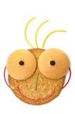 Cara sonriente de la galleta con el pelo Fotos de archivo libres de regalías