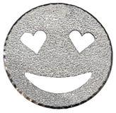 cara sonriente del brillo de plata que brilla con los ojos en forma de corazón Fotos de archivo libres de regalías