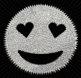 cara sonriente del brillo de plata que brilla con los ojos en forma de corazón Fotos de archivo
