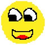 Cara sonriente dibujada en pixeles stock de ilustración