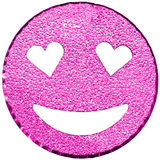 cara sonriente púrpura que brilla con los ojos en forma de corazón Imagenes de archivo