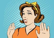 Cara surpreendida da mulher com boca aberta PNF assustado ilustração do vetor