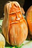 Cara tallada de la calabaza Fotografía de archivo