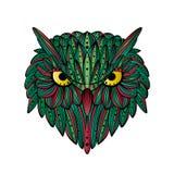 Cara tirada mão da coruja do vetor Arte de Zentangle Ilustração modelada étnica para o livro para colorir antistress, tatuagem, c ilustração royalty free
