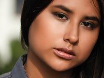 Cara triste de adolescente peruano Imágenes de archivo libres de regalías