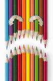 Cara triste de los lápices del color Imagenes de archivo